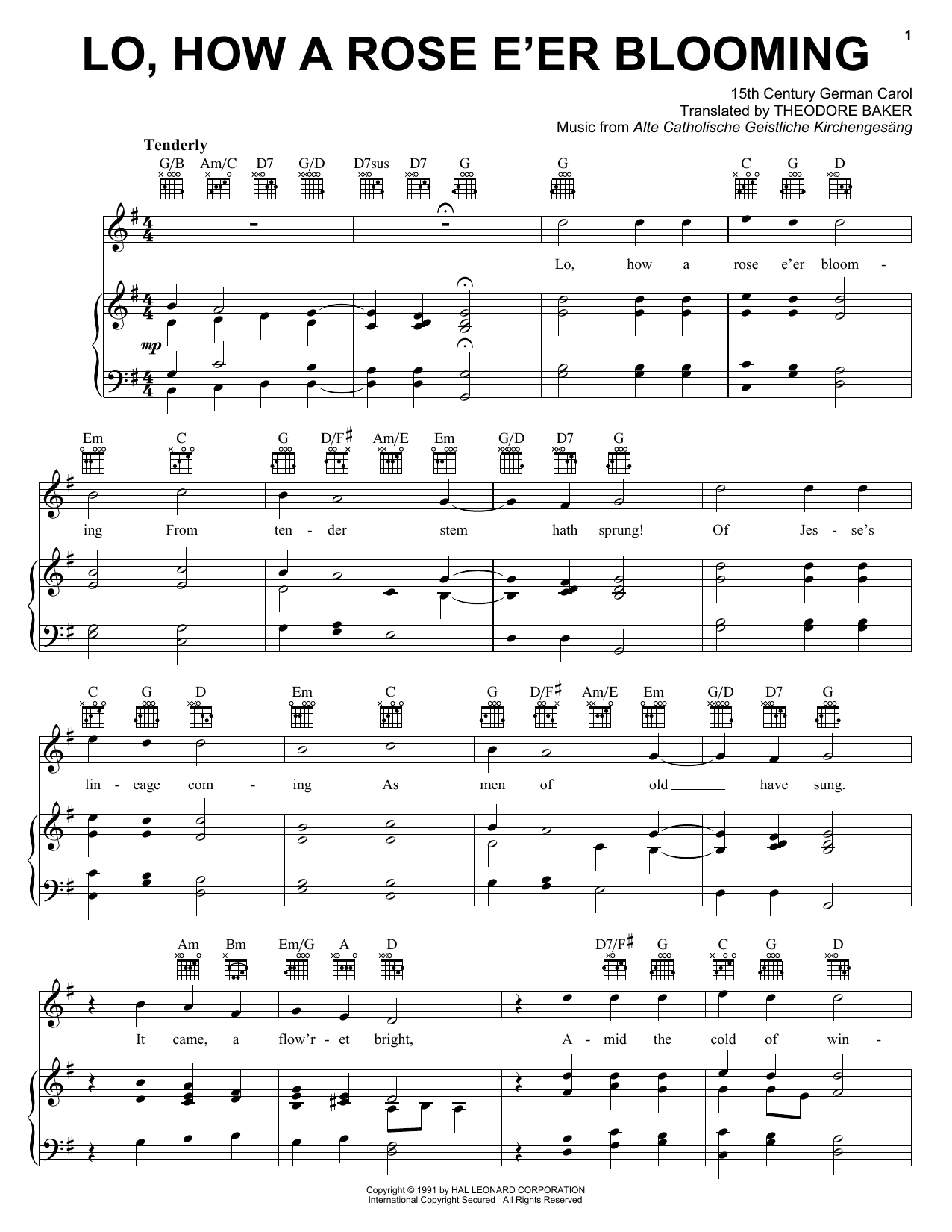 Lo, How A Rose E'er Blooming sheet music