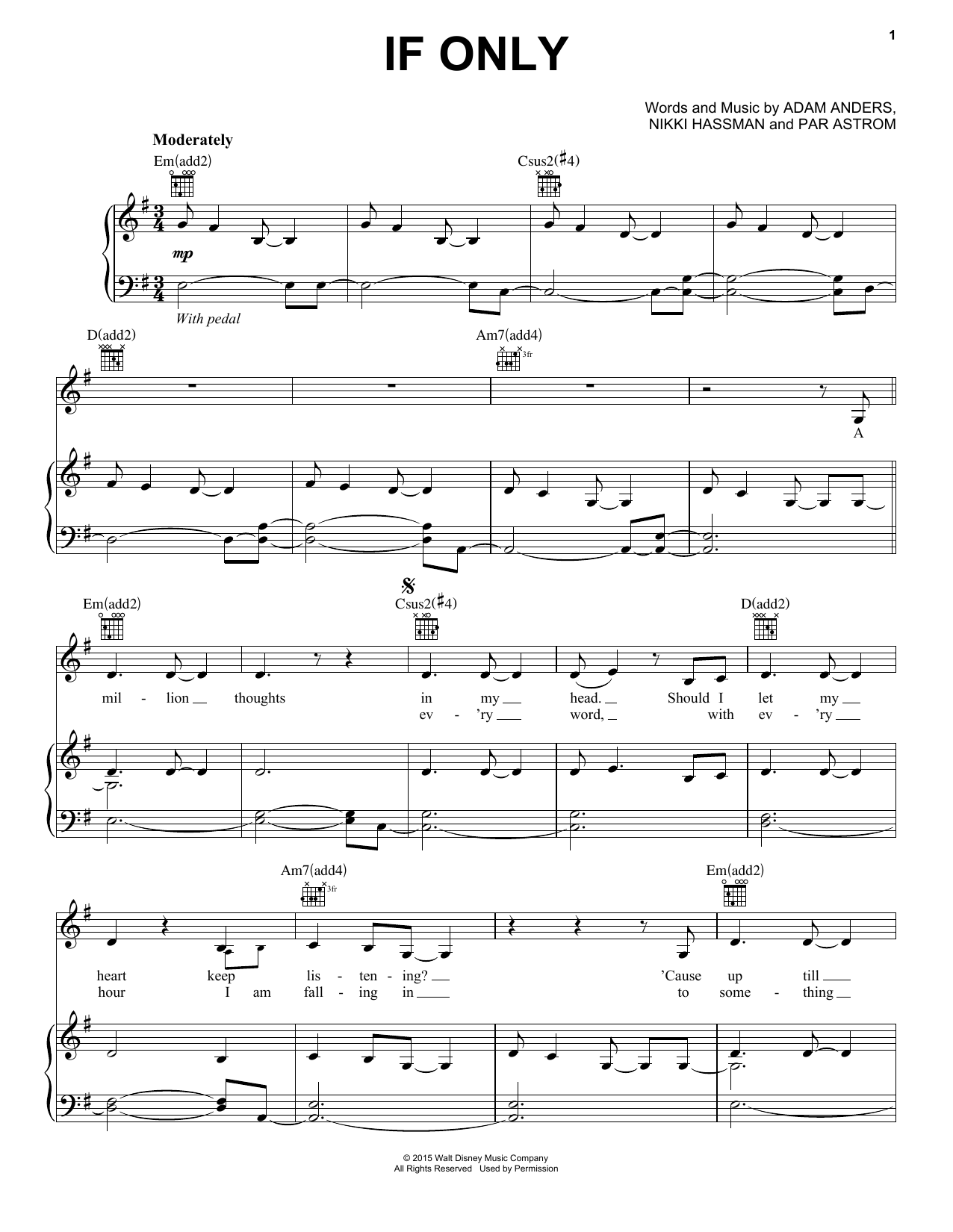Dove Cameron 'If Only' Sheet Music Notes, Chords | Download Printable  Piano, Vocal & Guitar (Right-Hand Melody) - SKU: 162596