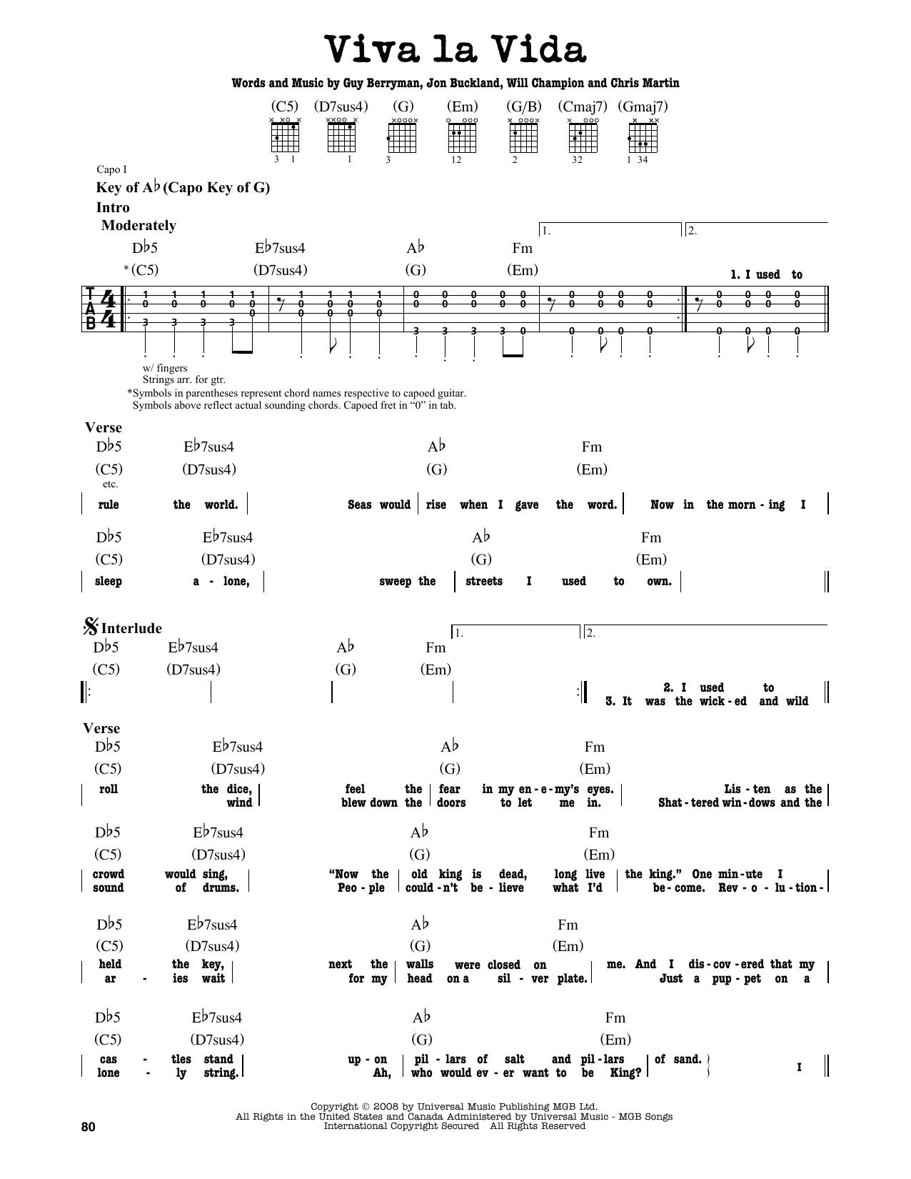 viva la vida xylophone notes