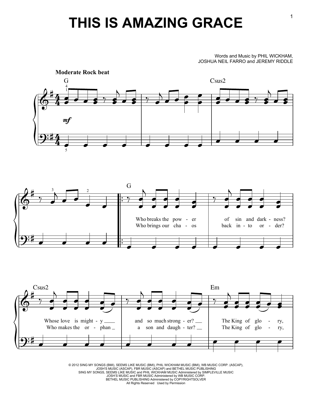 Phil Wickham This Is Amazing Grace Sheet Music Notes, Chords ...