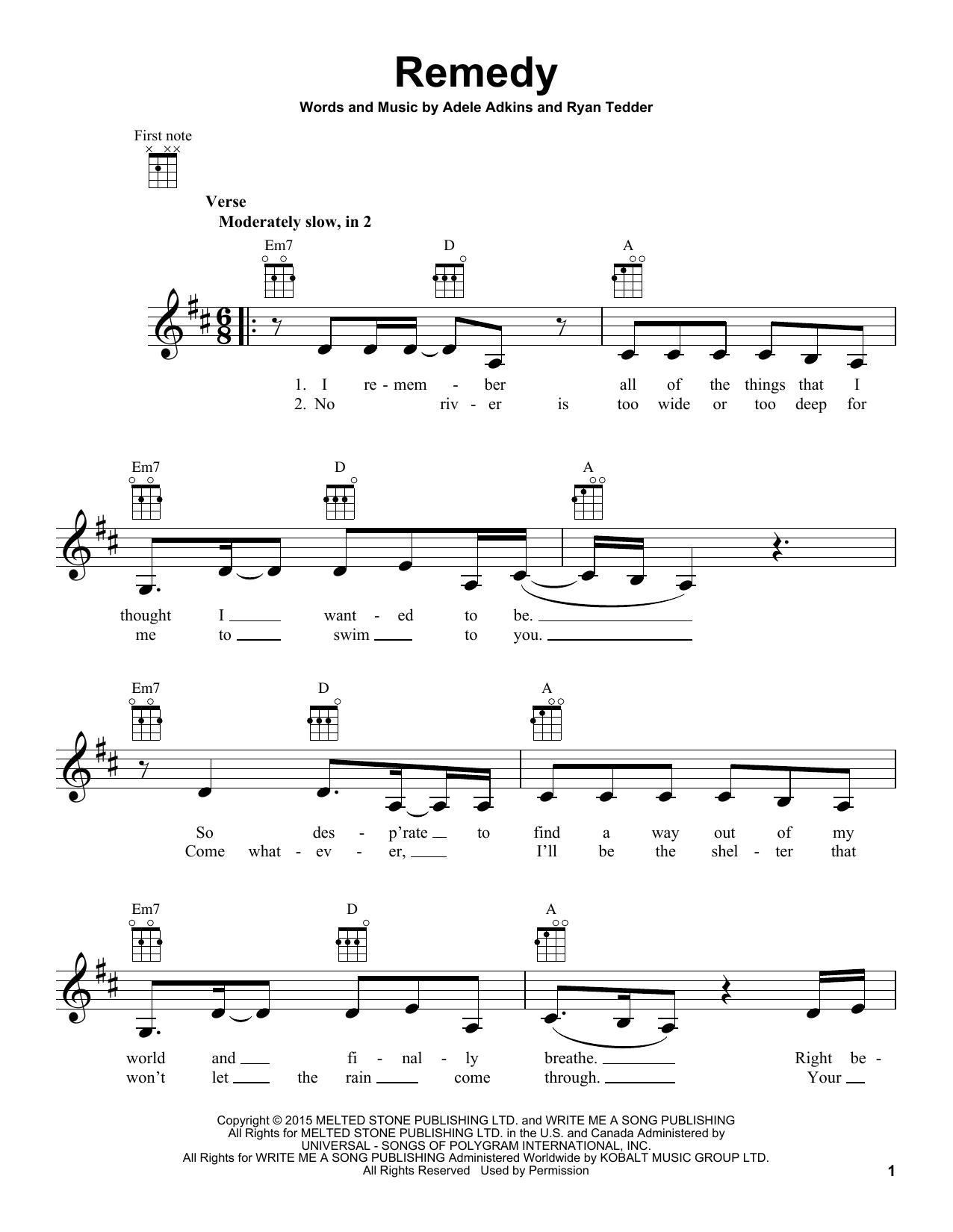 Adele Remedy Sheet Music Notes Chords Download Printable Ukulele Sku 164756