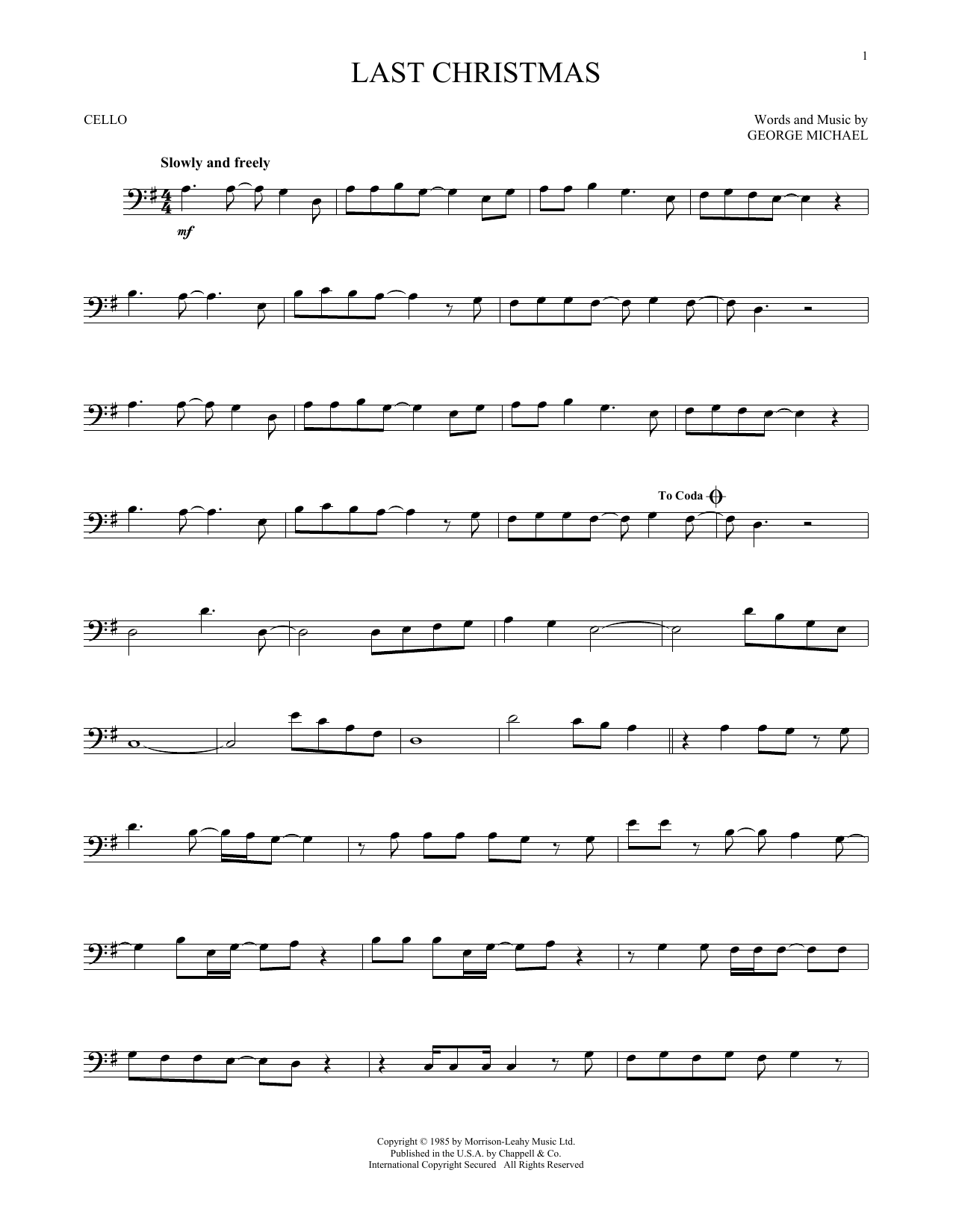 Wham! Last Christmas Sheet Music Notes