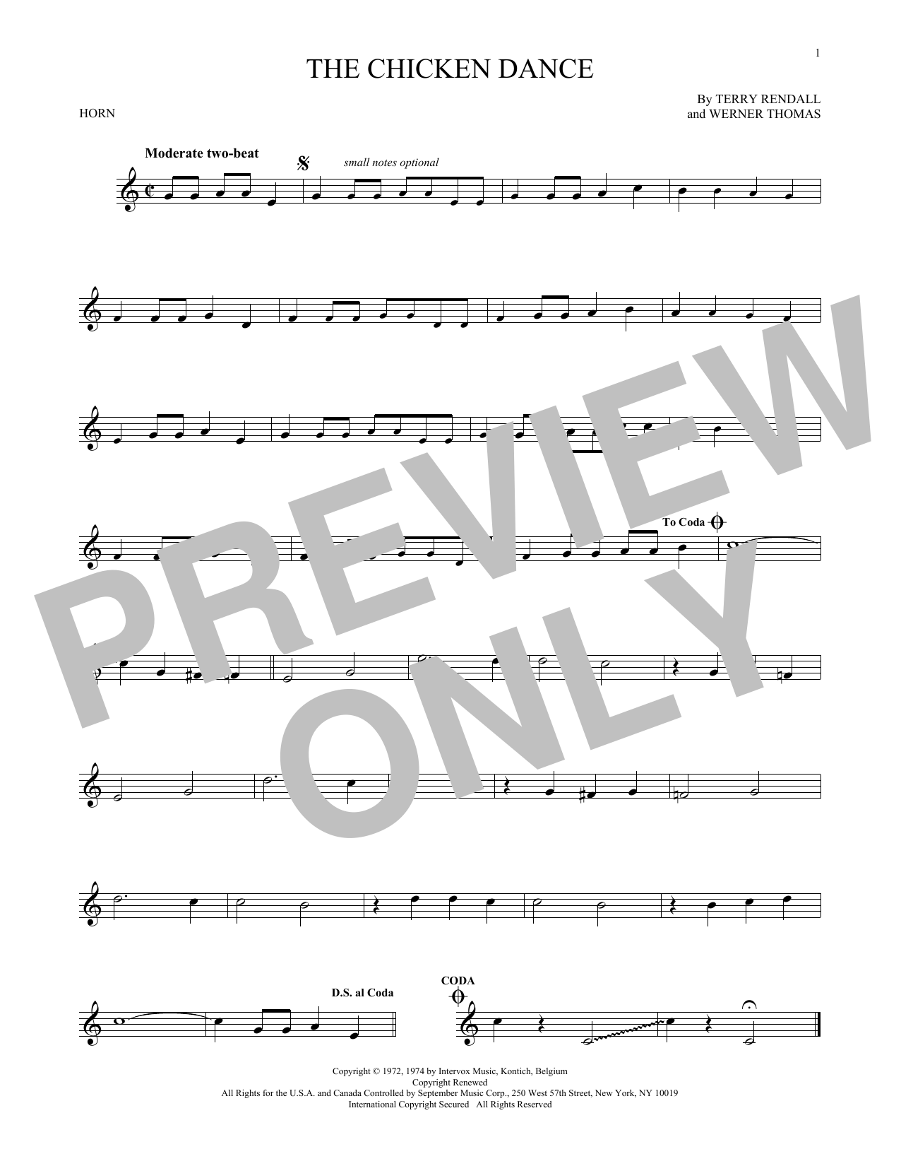Werner Thomas, The Chicken Dance, French Horn, sheet music, piano notes, chords, song, artist, awards, billboard, mtv, vh1, tour, single, album, release