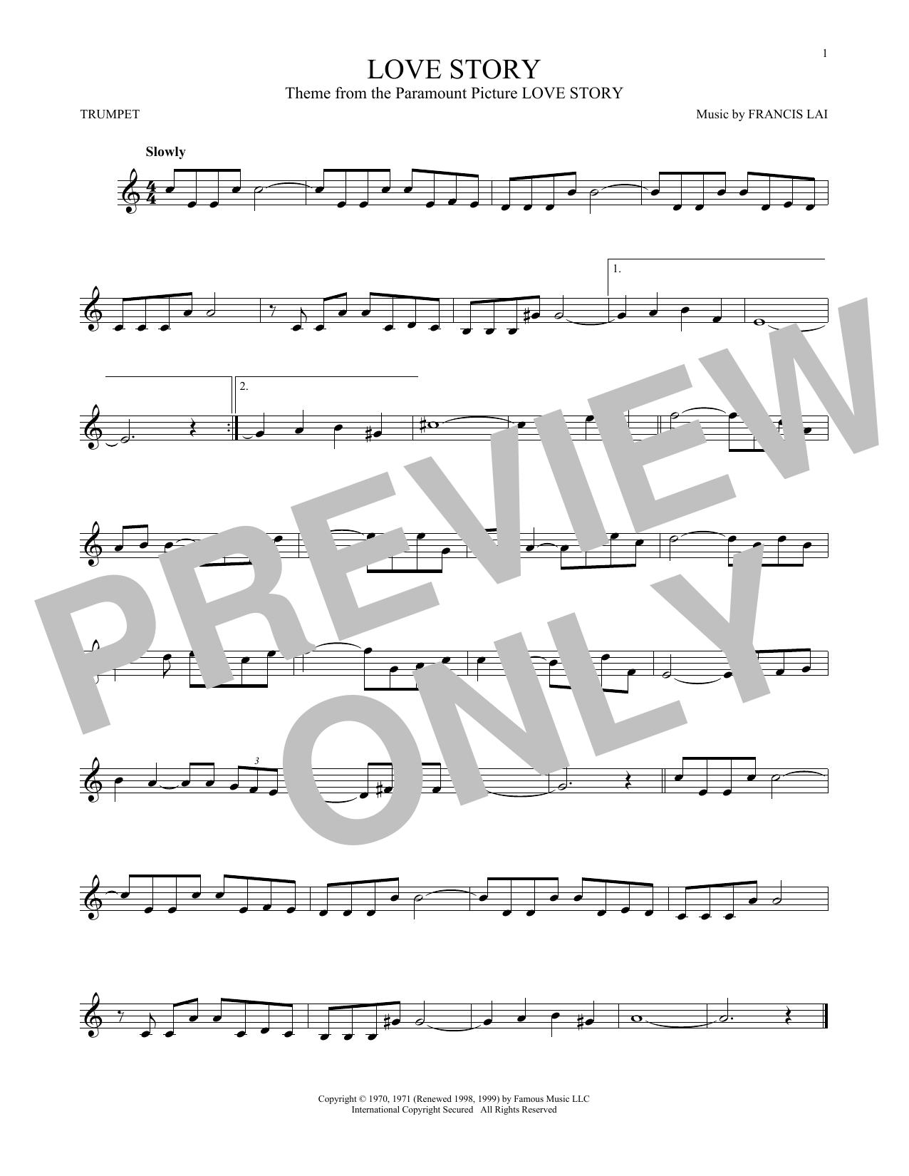 Francis Lai 'Love Story' Sheet Music Notes, Chords   Download Printable  Trumpet - SKU: 168799
