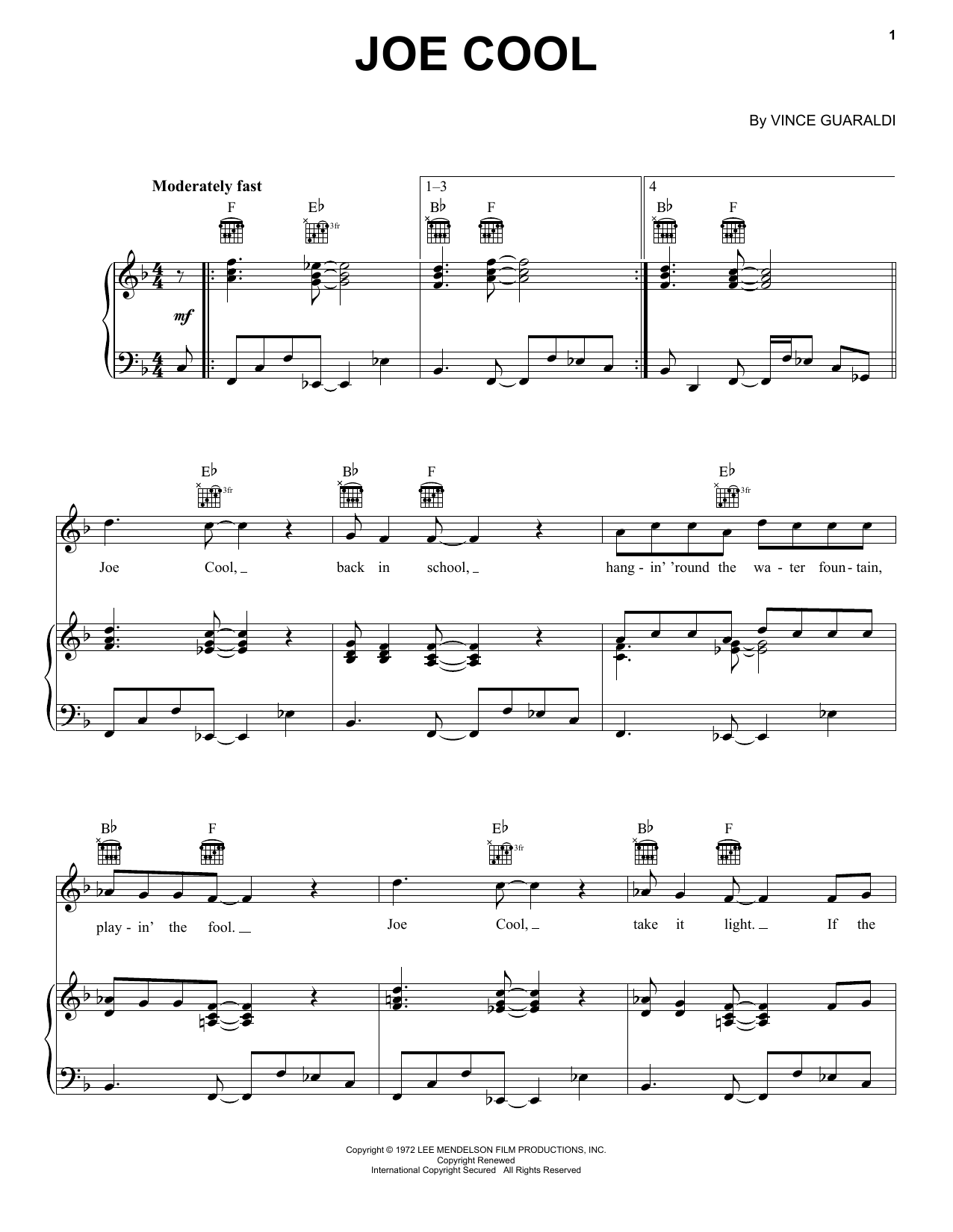 Vince Guaraldi Joe Cool Sheet Music Notes Chords Download Children Notes Piano Vocal Guitar Right Hand Melody Pdf Print 169995