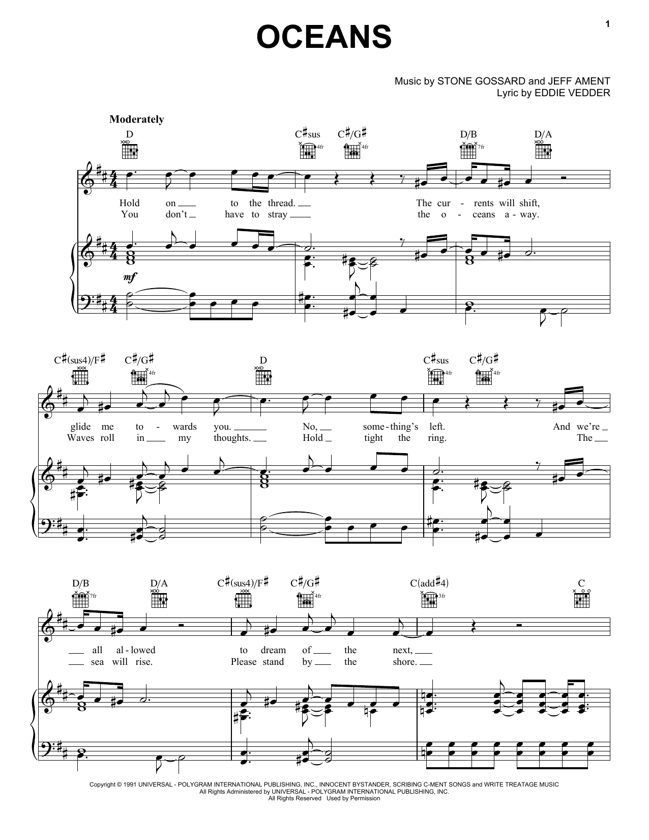 Pearl Jam 'Oceans' Sheet Music Notes, Chords | Download Printable Piano,  Vocal & Guitar (Right-Hand Melody) - SKU: 170172