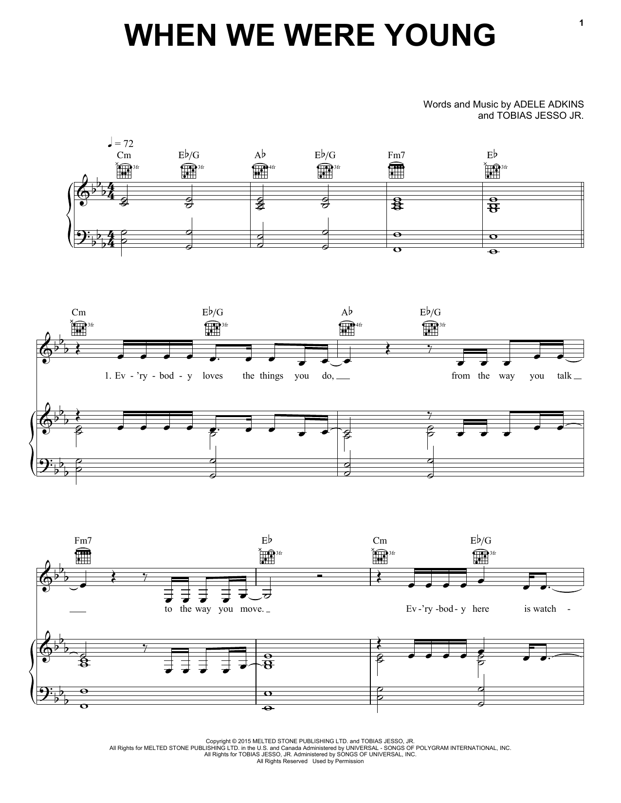 Adele When We Were Young Sheet Music Notes Chords Download Pop Notes Piano Vocal Guitar With Backing Track Pdf Print 170427