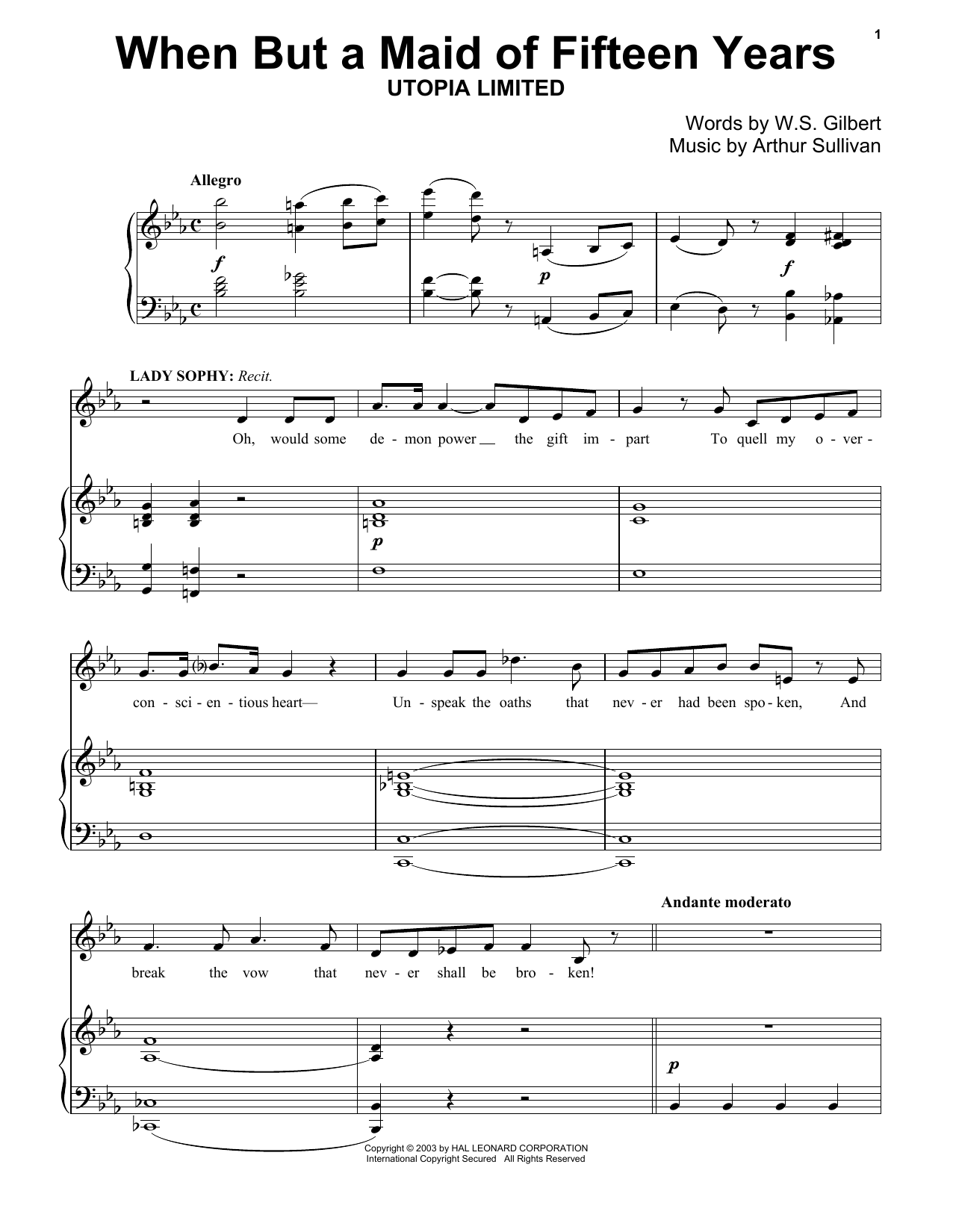 7 Years Piano Pdf gilbert & sullivan 'when but a maid of fifteen years' sheet music notes,  chords | download printable piano - sku: 174415