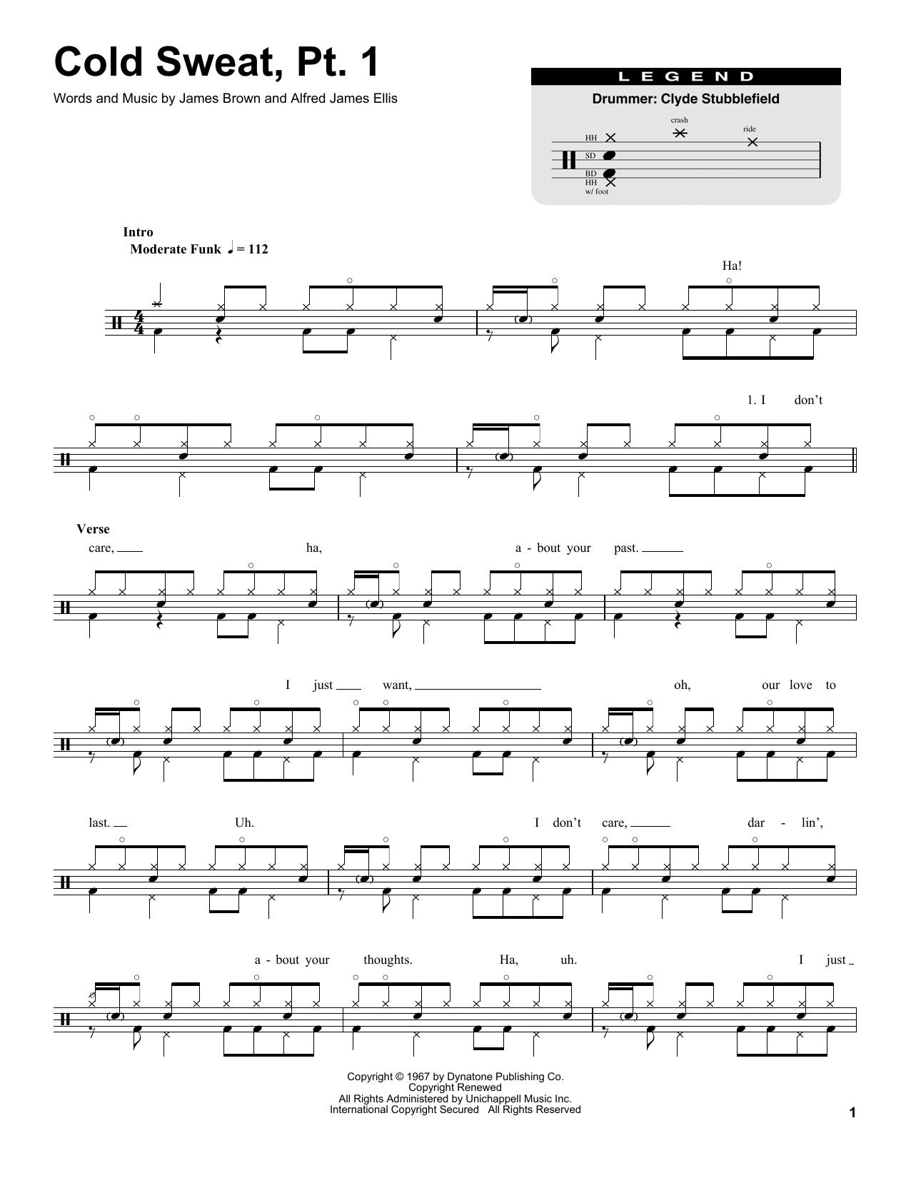 James Brown 'Cold Sweat, Pt  1' Sheet Music Notes, Chords | Download  Printable Drums Transcription - SKU: 174656