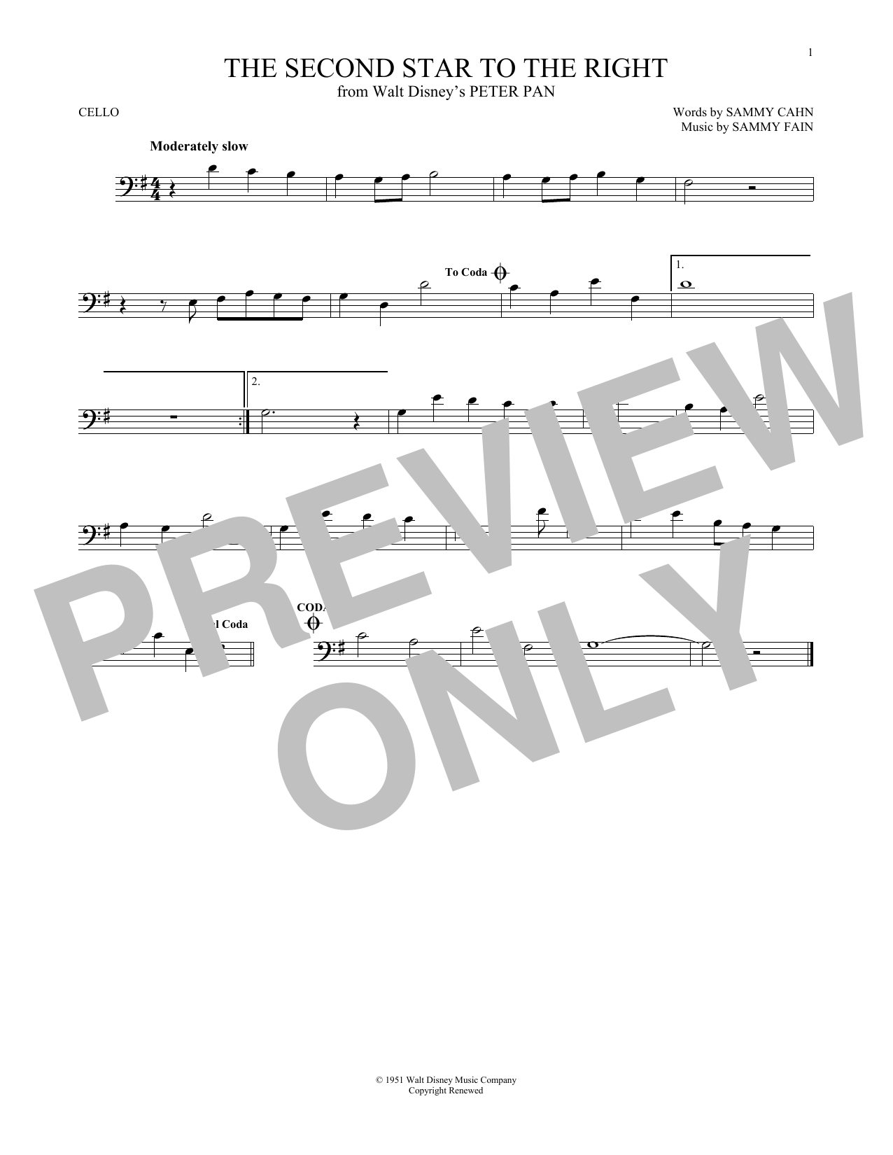 The Second Star To The Right sheet music
