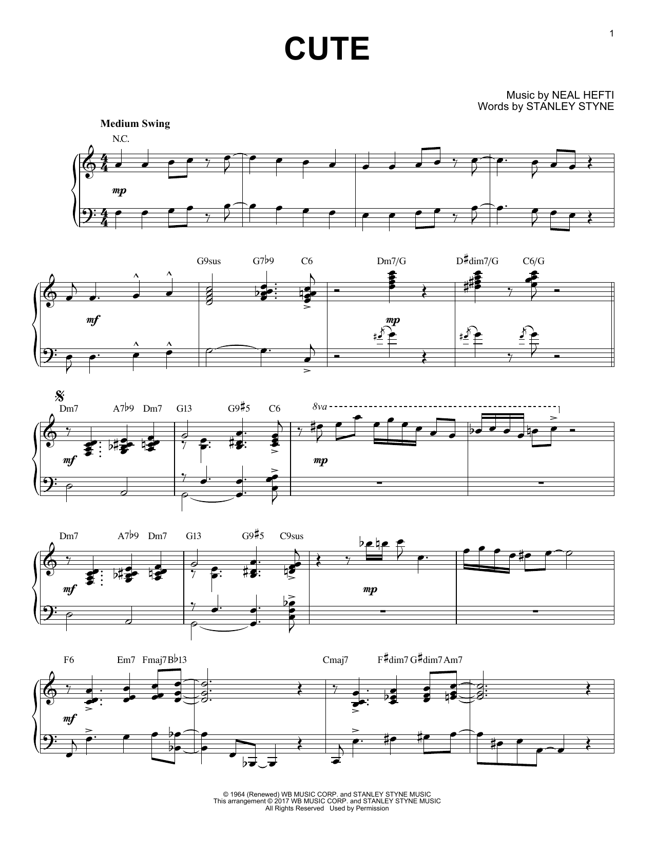 7 Years Piano Pdf count basie 'cute' sheet music notes, chords | download printable piano -  sku: 178393