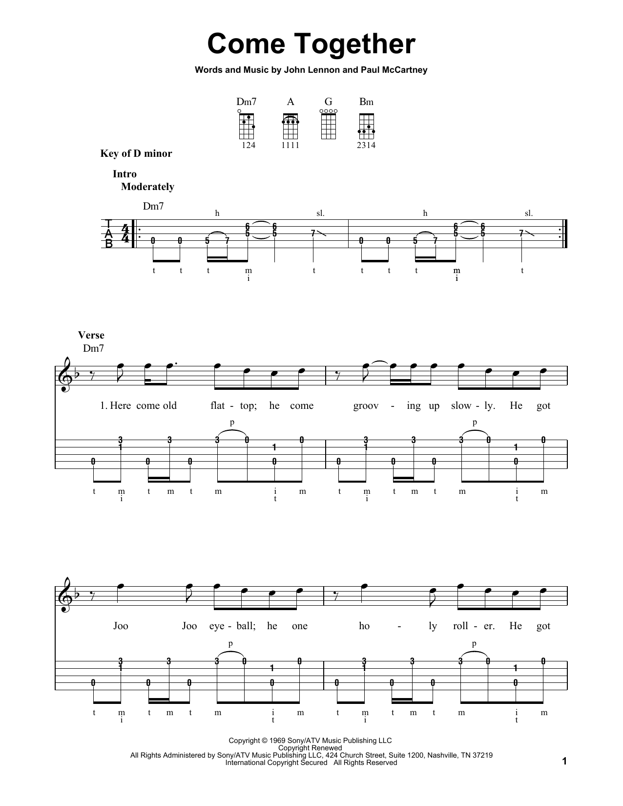 The Beatles Come Together Sheet Music Notes Chords Download Rock Notes Banjo Pdf Print 178611