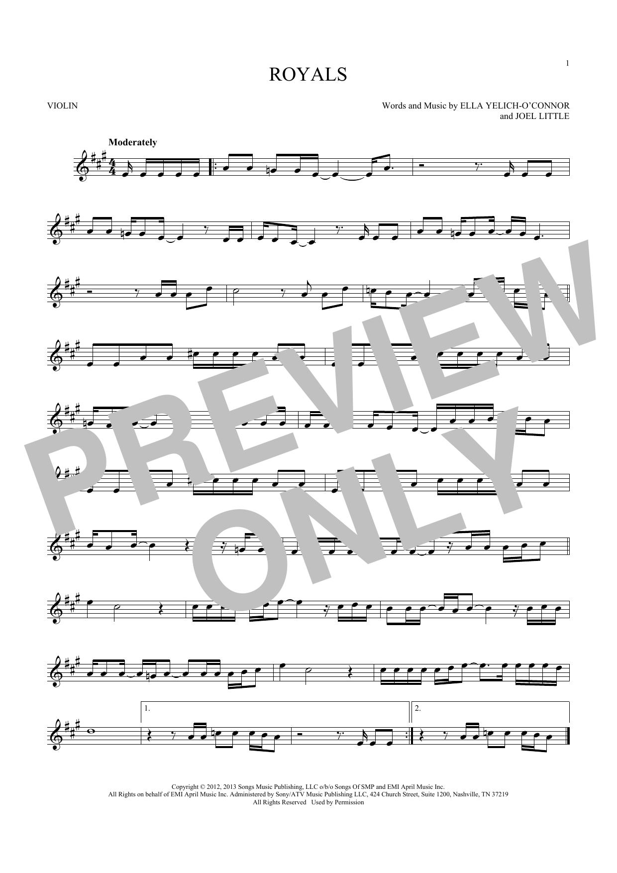 Lorde 'Royals' Sheet Music Notes, Chords   Download Printable Violin - SKU:  180511