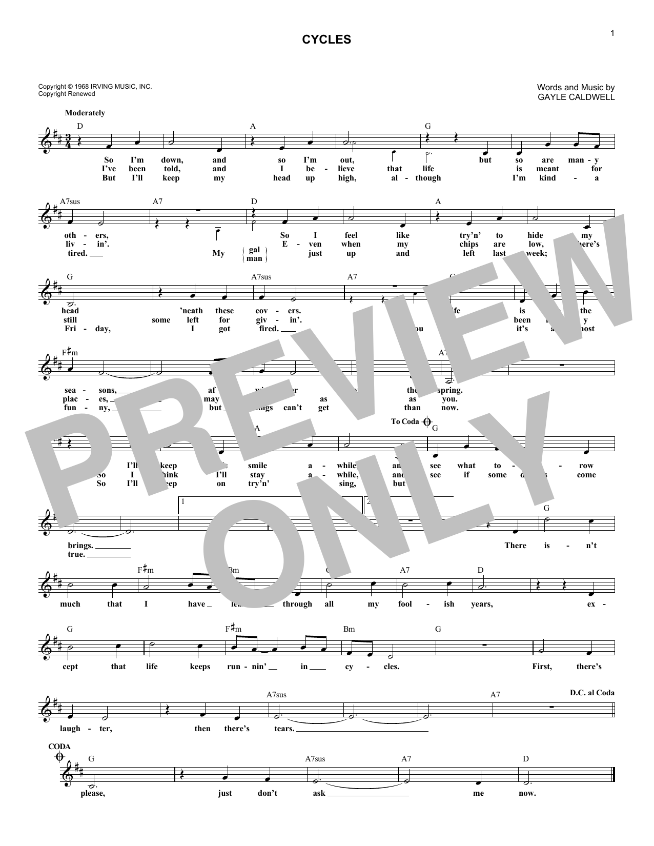 Frank Sinatra, Cycles, Melody Line, Lyrics & Chords, sheet music, piano notes, chords, song, artist, awards, billboard, mtv, vh1, tour, single, album, release