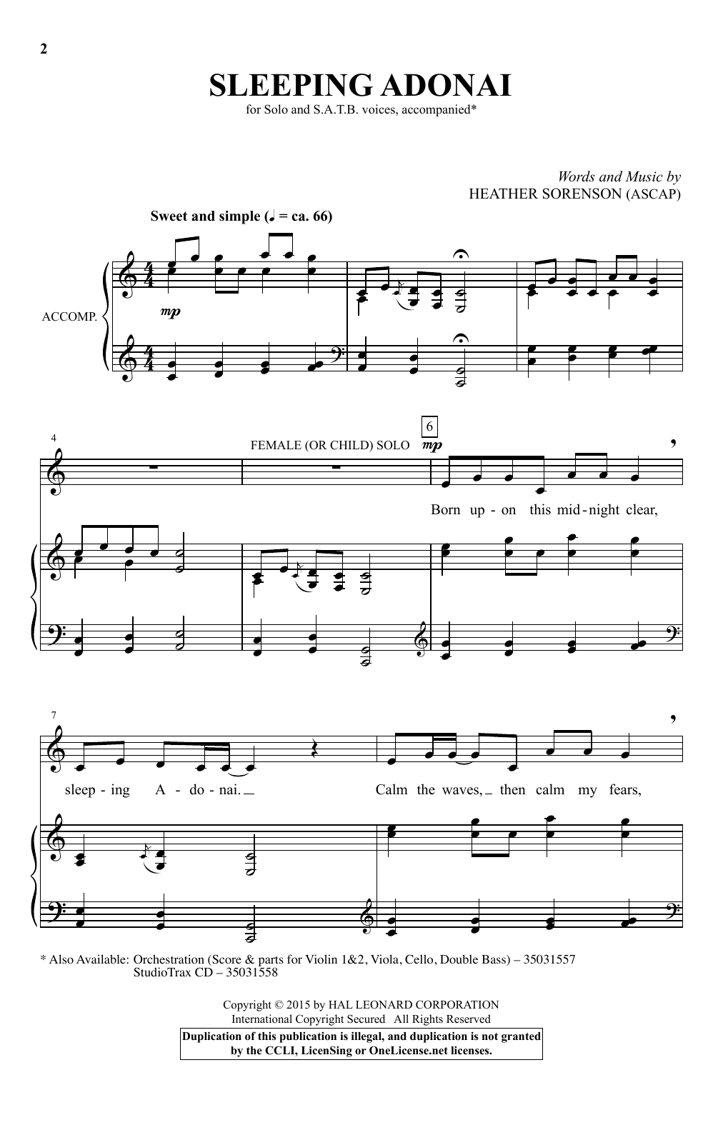 Heather Sorenson 'Sleeping Adonai' Sheet Music Notes, Chords | Download  Printable SATB - SKU: 182455