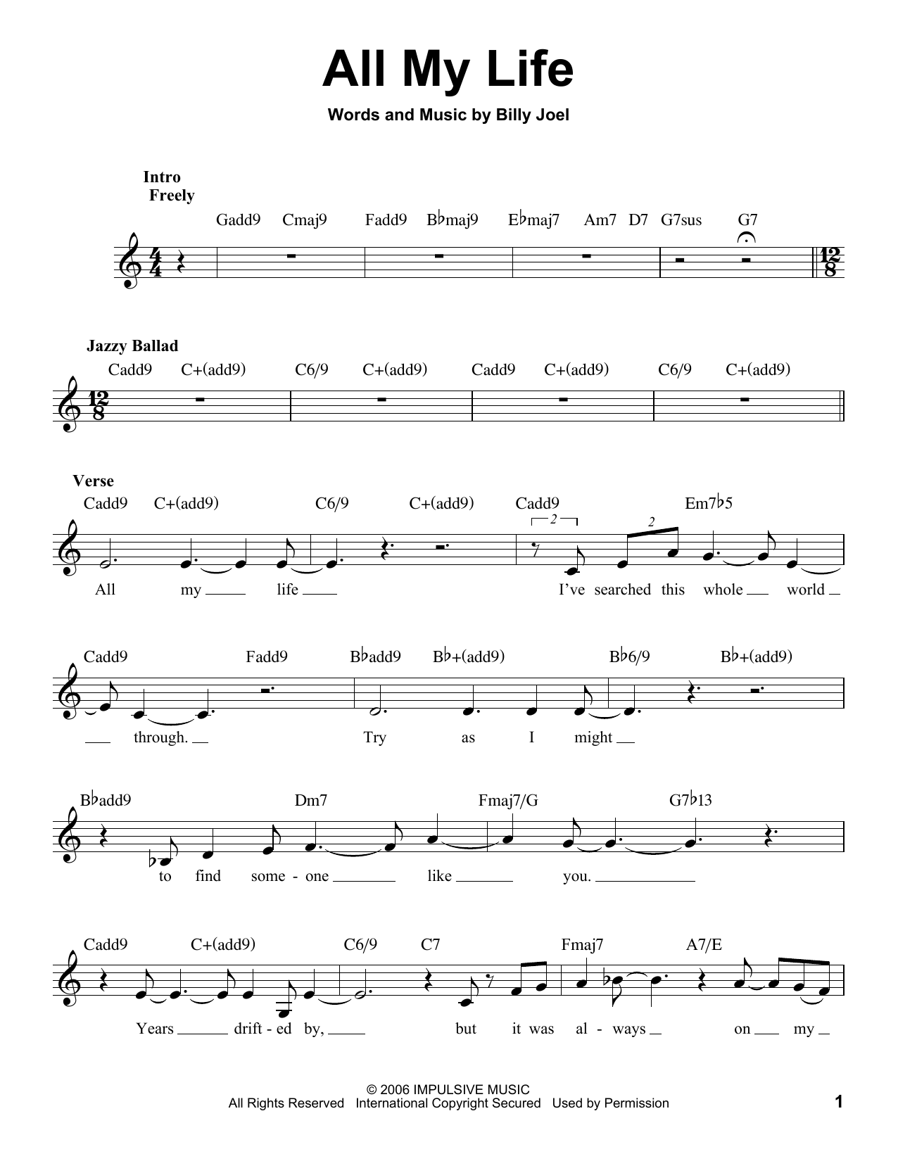 Billy Joel 'All My Life' Sheet Music Notes, Chords | Download Printable  Voice - SKU: 183051