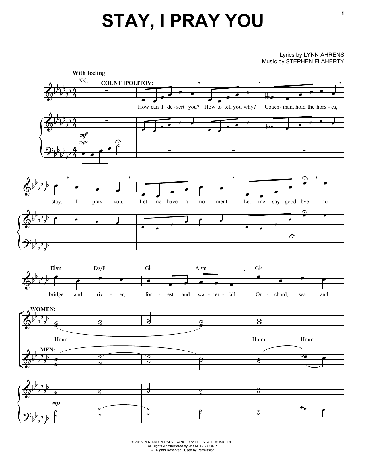Stephen Flaherty Stay I Pray You Sheet Music Notes Chords Download Printable Piano Vocal Sku 183090