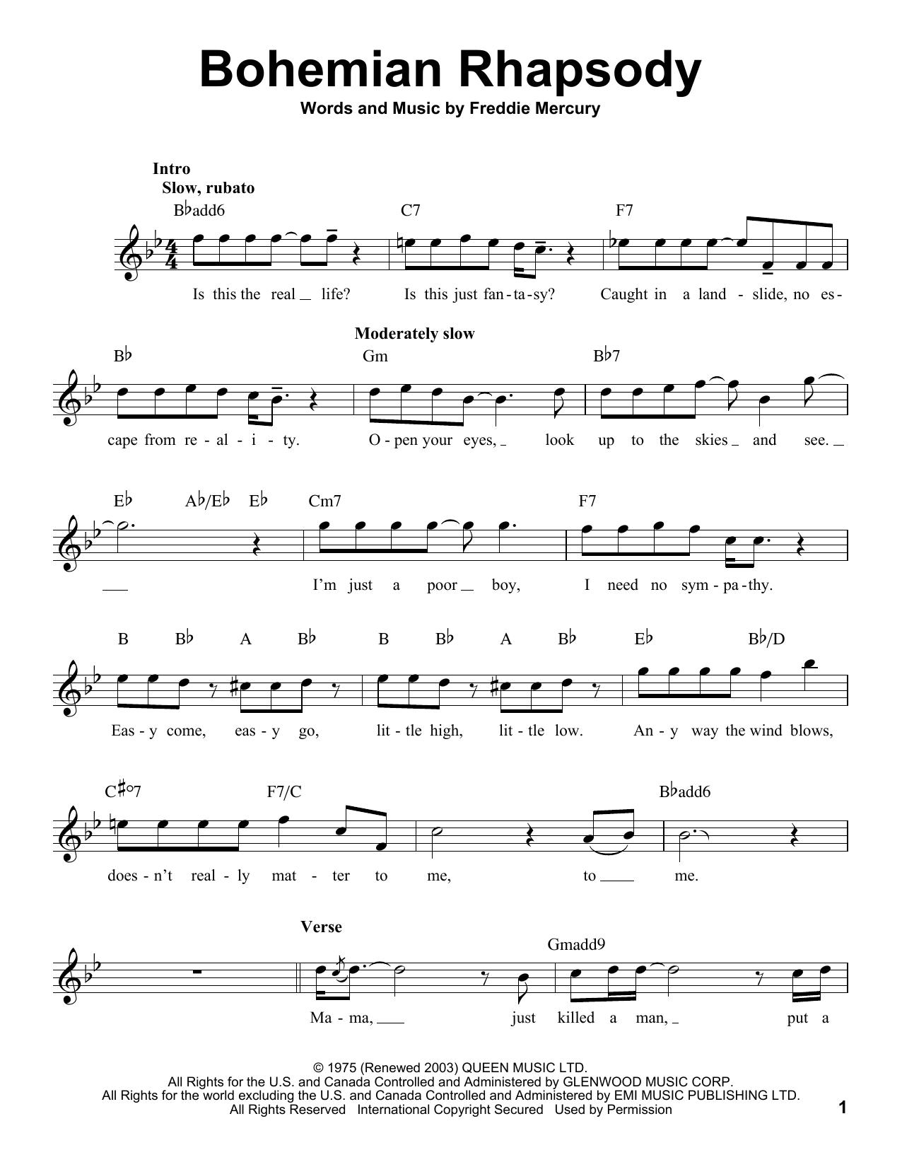 bohemian rhapsody easy piano pdf