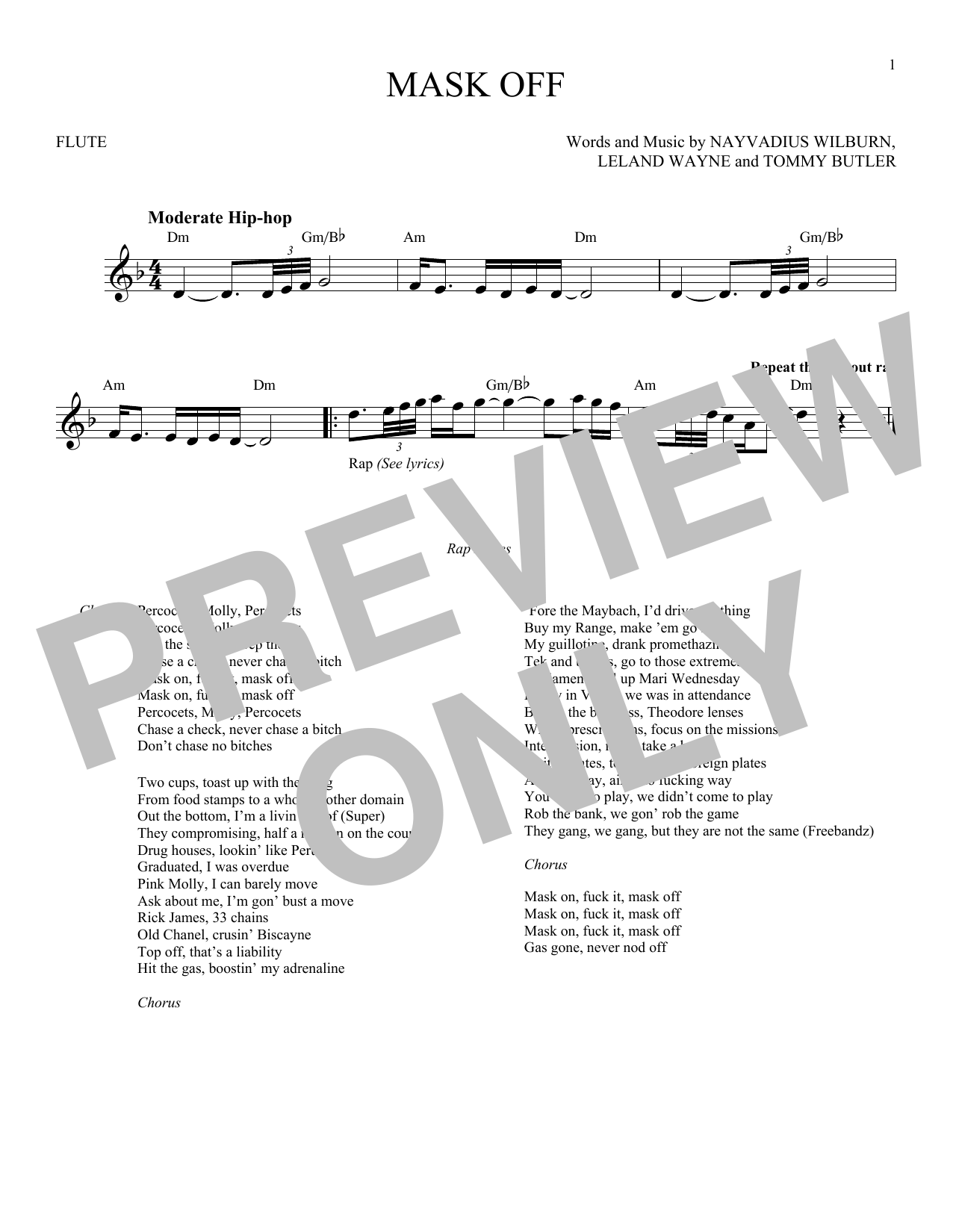 graphic relating to Printable Flute Sheet Music called Upcoming Mask Off Sheet Songs Notes, Chords Obtain Printable Flute - SKU: 183834