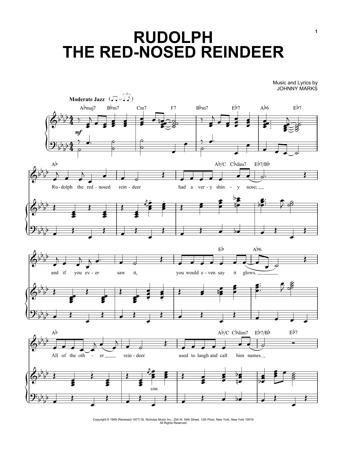 free christmas sheet music rudolph the red nosed reindeer
