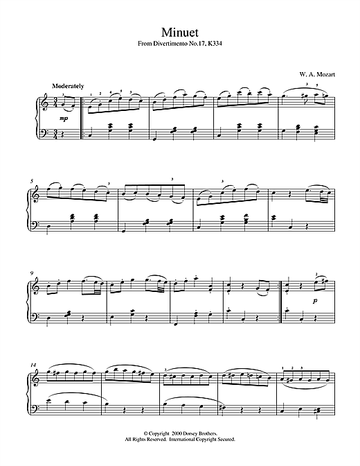Wolfgang Amadeus Mozart, Minuet from Divertimento No.17, K334, Piano, sheet music, piano notes, chords, song, artist, awards, billboard, mtv, vh1, tour, single, album, release