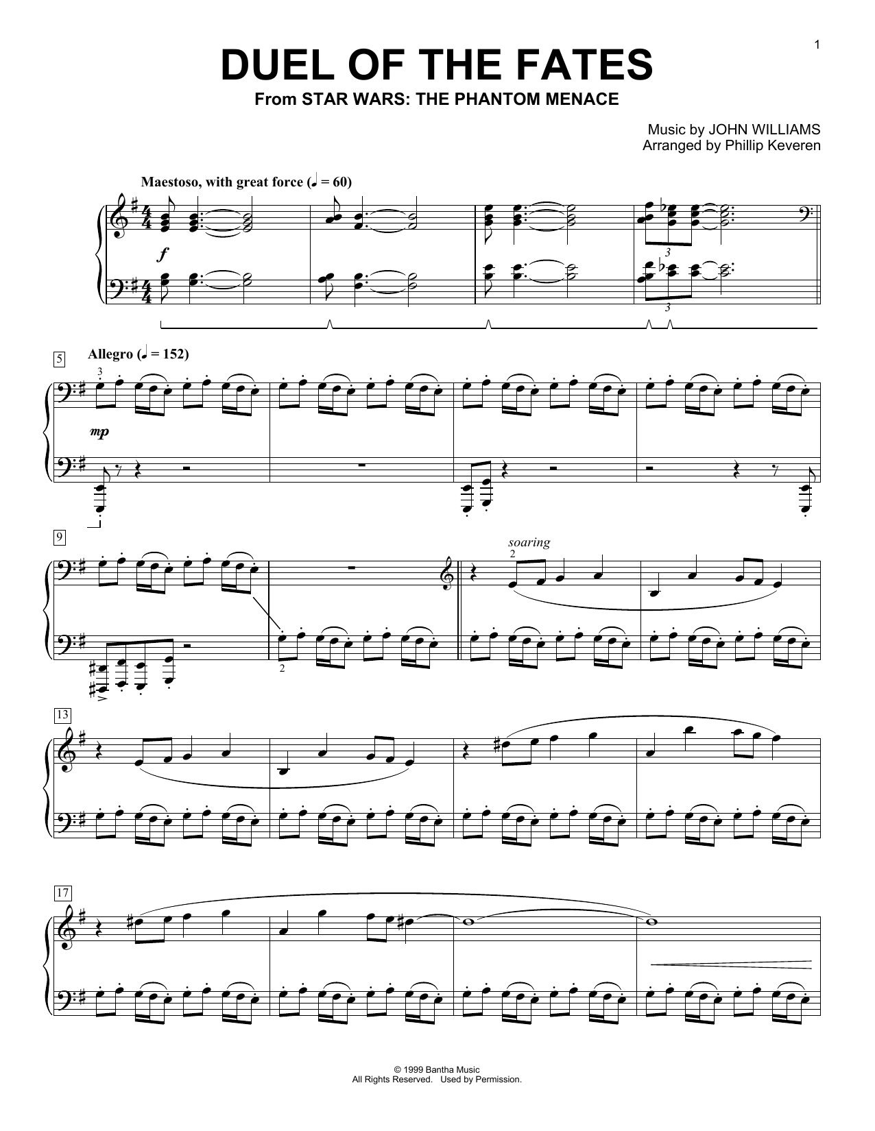 Phillip Keveren 'Duel Of The Fates' Sheet Music Notes, Chords | Download  Printable Piano - SKU: 195432