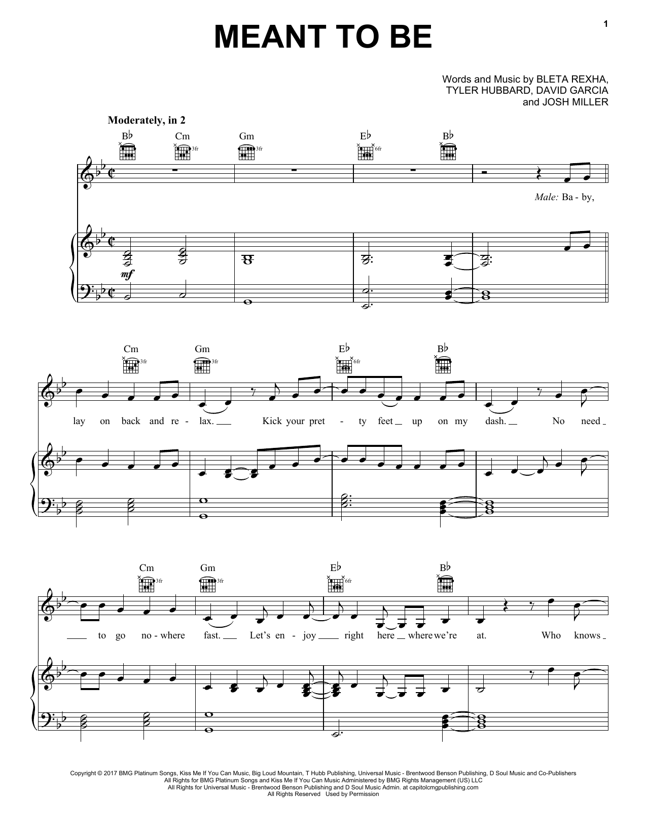 Bebe Rexha 'Meant To Be (feat  Florida Georgia Line)' Sheet Music Notes,  Chords | Download Printable Piano, Vocal & Guitar (Right-Hand Melody) -  SKU: