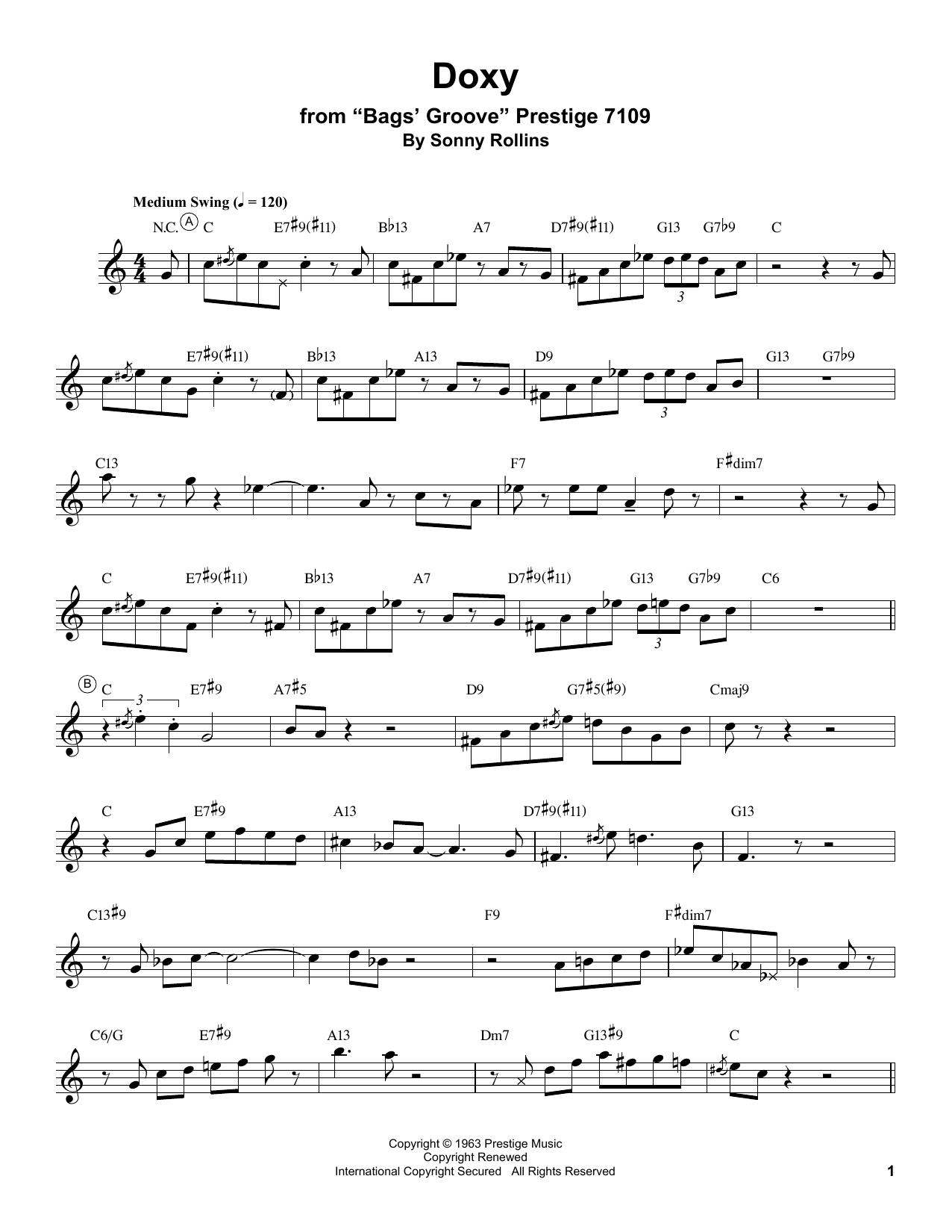 Miles Davis 'Doxy' Sheet Music Notes, Chords   Download Printable Trumpet  Transcription - SKU: 199055