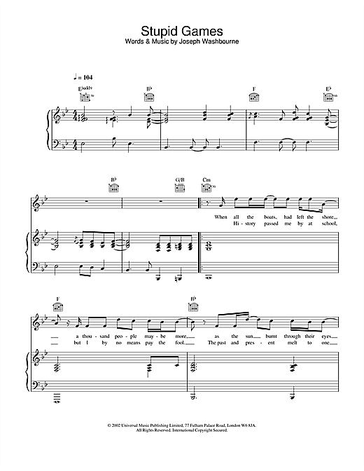 Stupid Games sheet music