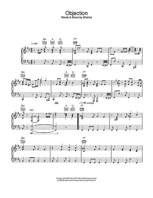 Objection sheet music