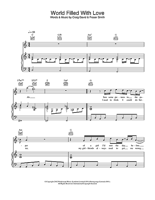 World Filled With Love sheet music