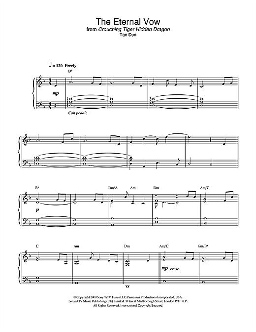 The Eternal Vow from Crouching Tiger, Hidden Dragon sheet music