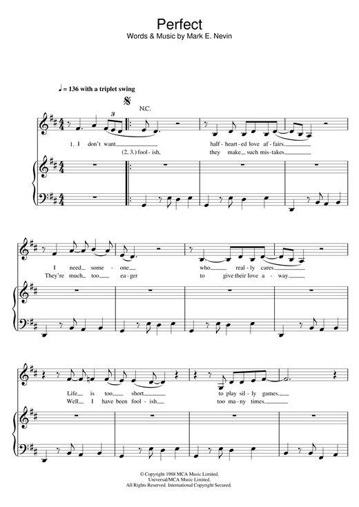 Fairground Attraction 'Perfect' Sheet Music Notes, Chords | Download  Printable Piano, Vocal & Guitar - SKU: 22566