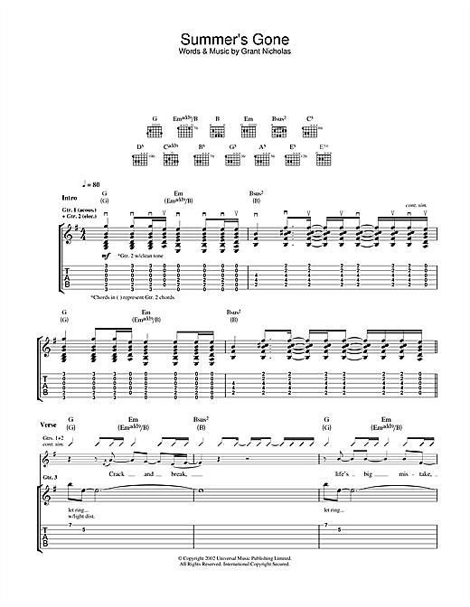 Summer's Gone sheet music