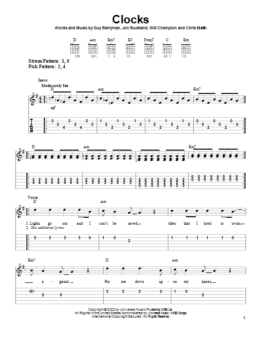 Coldplay 'Clocks' Sheet Music Notes, Chords | Download Printable Easy  Guitar Tab - SKU: 23601