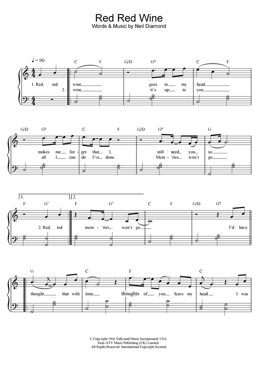 Red Red Wine sheet music
