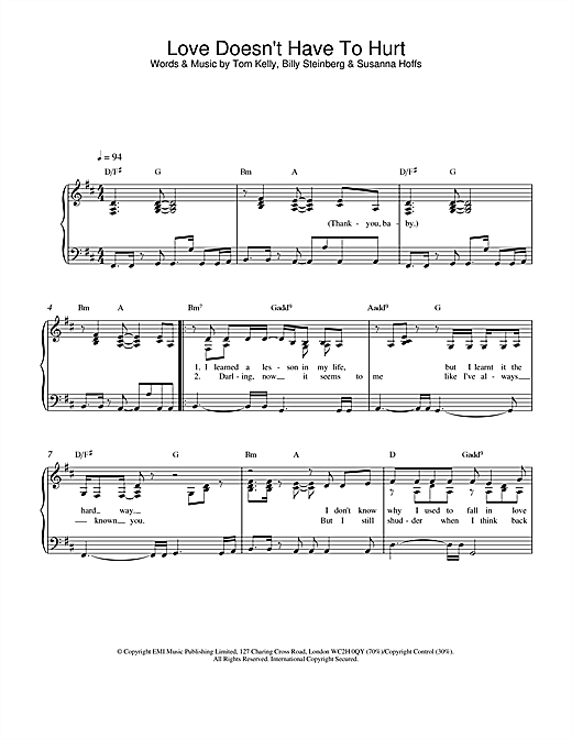 Love Doesn't Have To Hurt sheet music