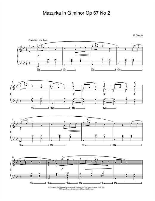 Mazurka In G Minor, Op. 67, No. 2 sheet music