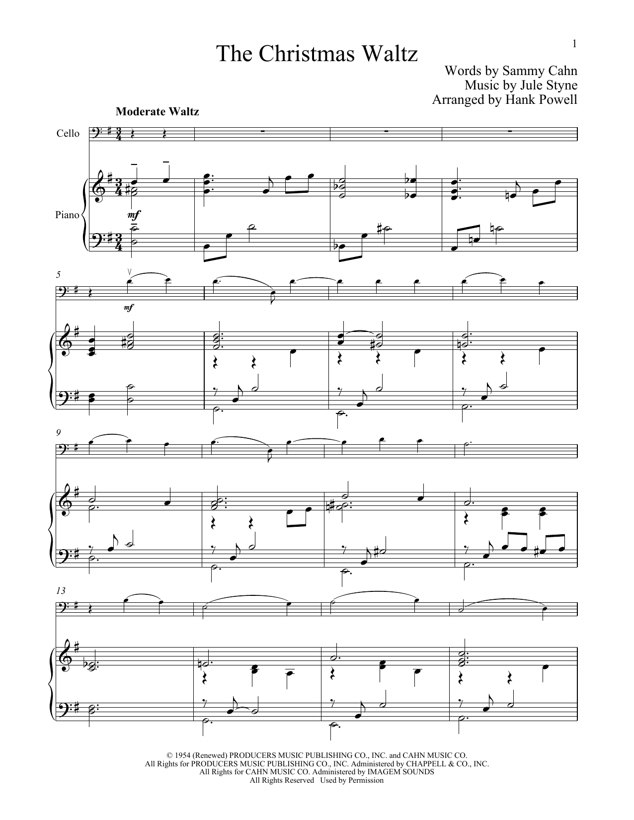 Christmas Waltz Chords.Jule Styne The Christmas Waltz Sheet Music Notes Chords Download Printable Cello And Piano Sku 251197