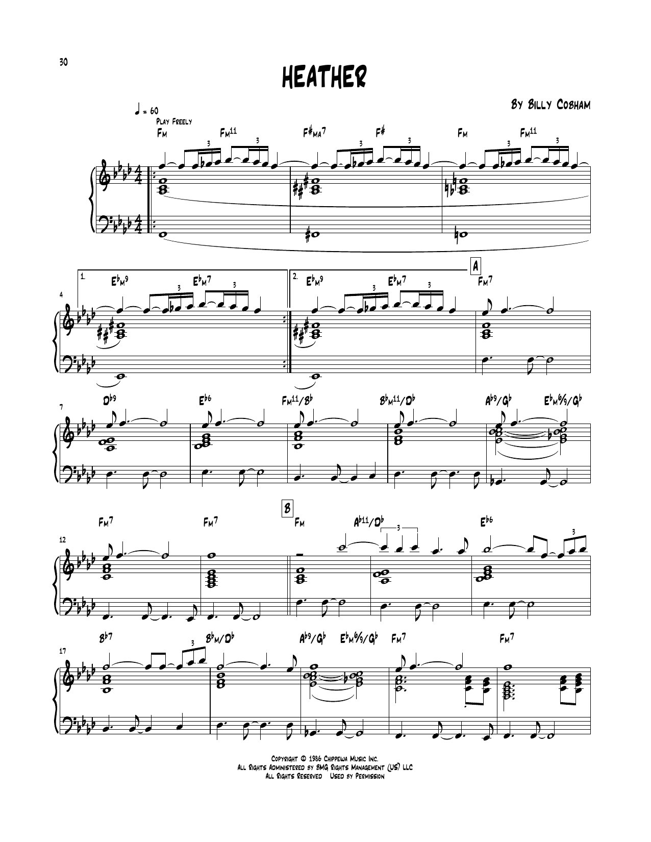 Billy Cobham 'Heather' Sheet Music Notes, Chords | Download Printable Piano  Transcription - SKU: 252015