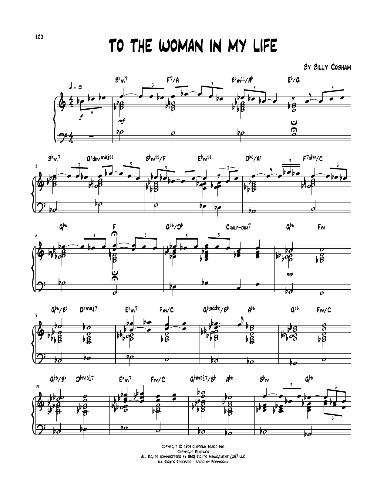 Billy Cobham 'To The Woman In My Life' Sheet Music Notes, Chords   Download  Printable Piano Transcription - SKU: 252020