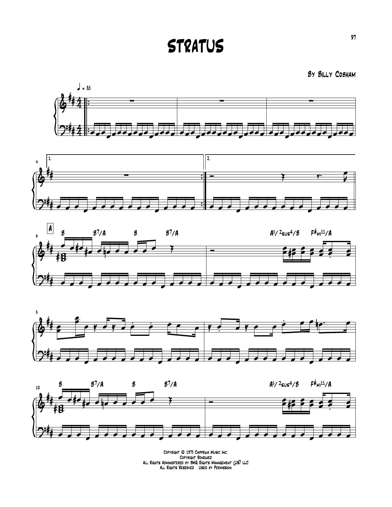 Billy Cobham 'Stratus' Sheet Music Notes, Chords   Download Printable Piano  Transcription - SKU: 252021