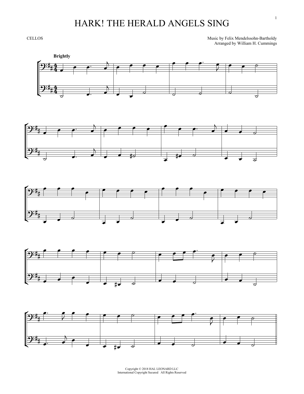 Felix Mendelssohn Bartholdy Hark The Herald Angels Sing Sheet Music Notes Chords Download Printable Vcldt Sku 255175