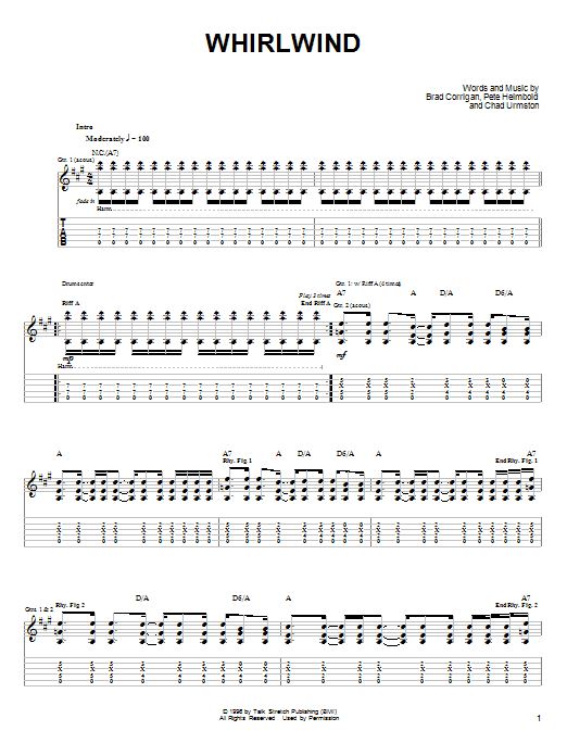 Dispatch 'Whirlwind' Sheet Music Notes, Chords | Download Printable Guitar  Tab - SKU: 25739
