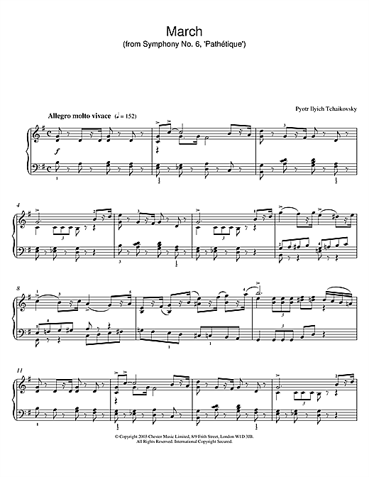 March (from Symphony No. 6, 'Pathetique') sheet music