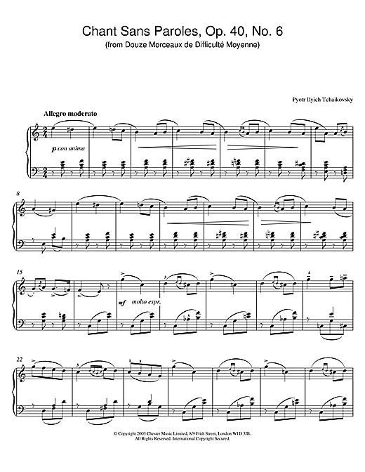 Chant Sans Paroles, Op. 40, No. 6 (from Douze Morceaux de Difficult Moyenne) sheet music
