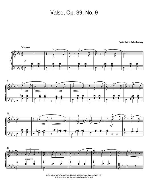 Valse, Op. 39, No. 9 sheet music
