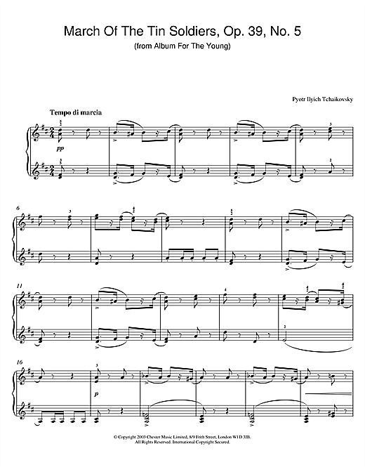 March Of The Tin Soldiers, Op. 39, No. 5 (from Album For The Young) sheet music