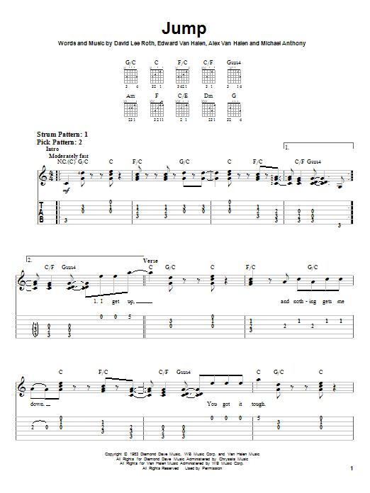 Van Halen Jump Sheet Music Notes Chords Download Rock Notes Easy Guitar Tab Pdf Print 26755