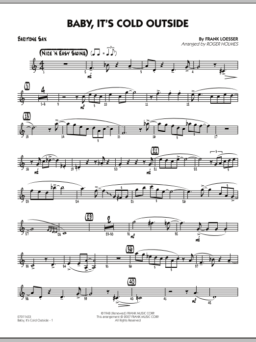 Roger Holmes Baby It S Cold Outside Baritone Sax Chords Sheet